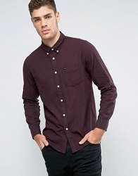 Lee Button Down Regular Fit Waffle Shirt Dark Red