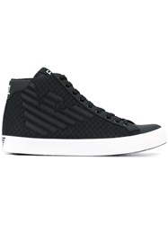 Emporio Armani Lace Up Logo Sneakers Men Cotton Polyester Rubber 7.5 Black