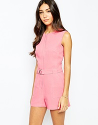 Oasis D Ring Belted Playsuit Midpink