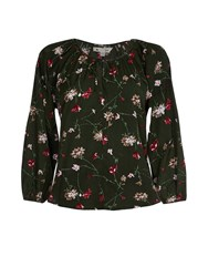 Yumi Olive Floral Printed Long Sleeve Top Green