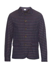 Oliver Spencer Navigator Striped Cotton Jacket Blue Multi