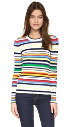 Milly Pop Textured Stripe Pullover Sweater Color Multi