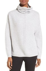 Nordstrom Women's Collection Scrunch Neck Cashmere Pullover Grey Clay Heather
