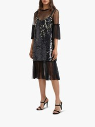 French Connection Eve Sequin Midi Dress Black