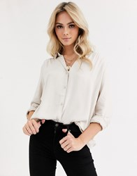 Pimkie Button Front Shirt In Beige