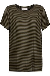 Zimmermann Striped Stretch Jersey T Shirt Army Green