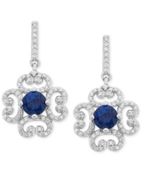 Macy's Sapphire 1 Ct. T.W. And Diamond 3 8 Ct. T.W. Flower Earrings In 14K White Gold
