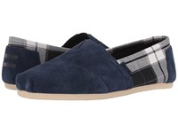 Toms Seasonal Classics Navy Suede Black Plaid Men's Slip On Shoes Blue