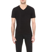 Reiss Dayton Cotton Jersey T Shirt Black