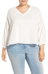 Plus Size Women's Melissa Mccarthy Seven7 Embroidered Inset Crop Blouse