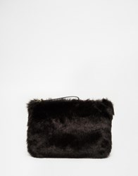 Oasis Faux Fur Clutch Bag Black