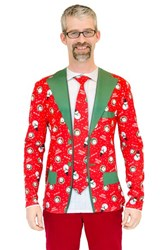Men's Faux Real 'Christmas Suit And Tie' Long Sleeve Novelty T Shirt