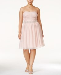 Trixxi Plus Size Strapless Embellished Empire Waist Dress Blush