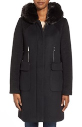 Dawn Levy 'Lara' Mixed Media Wool Blend Coat With Faux Fur Hood Black