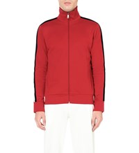 Gucci Stripe Detail Cotton Jersey Jacket Red