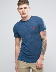 Jack And Jones Originals T Shirt In Marl Cotton With Chest Logo Dark Denim Blue