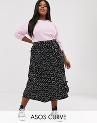 Asos Design Curve Midi Skirt With Pockets And Buttons In Heart Print Multi