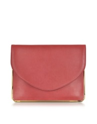 Carven Saint Sulpice Leather Clutch W Metal Detail Rosewood