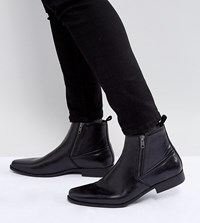 Asos Wide Fit Chelsea Boots In Black Faux Leather With Zips Black