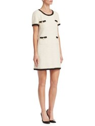 Edward Achour Chain Embellished Shift Dress Light Beige