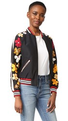 Alice Olivia Tony Embellished Sleeve Cropped Bomber Black Multi