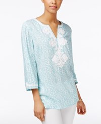 Charter Club Printed Embroidered Tunic Only At Macy's Angel Blue