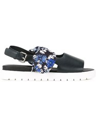 Mother Of Pearl Floral Print Bow Sandals Black