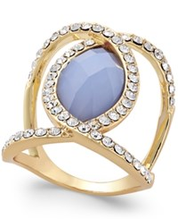 Inc International Concepts Gold Tone Crystal Blue Oval Ring Only At Macy's