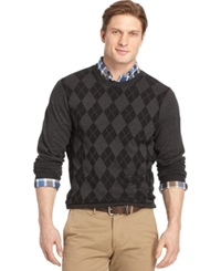 Izod Big And Tall Textured Argyle Sweater Black