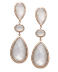 Macy's 14K Rose Gold Earrings 3 Stone Crystal Quartz 26 1 3 Ct. T.W. And Mother Of Pearl Accent Drop Earrings