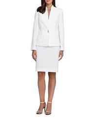 Tahari By Arthur S. Levine Skirt And Pleated Suit Set Ivory White