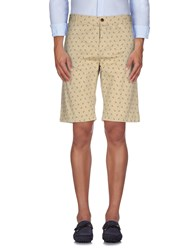 Solid Trousers Bermuda Shorts Men Beige