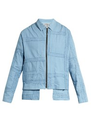 By Walid Julien Embroidered Panel Cotton Jacket Light Blue