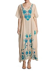 Kas Embroidered Caftan Dress Muted