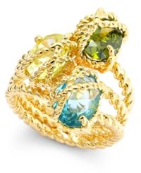 Charter Club Gold Tone Three Stone Wrapped Twisted Ring Green Mult