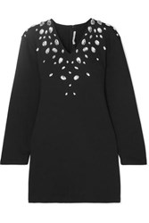 Christopher Kane Cutout Crystal Embellished Stretch Cotton Blend Jersey Mini Dress Black