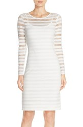 Women's Marc New York Shadow Stripe Mesh Knit Long Sleeve Sheath