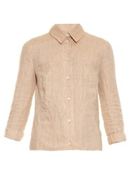 Altuzarra Adams Open Back Linen Shirt Beige