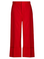 Sea High Rise Wide Leg Wool Trousers Red