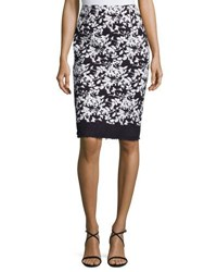 Carolina Herrera Floral Print Pencil Skirt Navy White Navy White