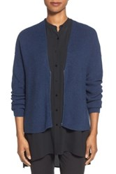 Eileen Fisher Zip Front Merino Wool Cardigan Regular And Petite Blue