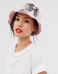 New Look Reversible Bucket Hat In Snake And Pink Multi