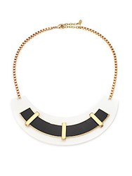 Abs By Allen Schwartz Black And White Arc Necklace Gold Multi