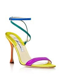 Brian Atwood Women's Sienna Suede Color Block Ankle Strap Sandals Multicolor
