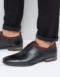 Asos Lace Up Oxford Shoes In Black Leather With Burgundy Suede Detail Black