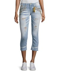 Robin's Jeans Marilyn Studded Destroyed Capri Light Blue