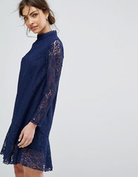 Little Mistress Long Sleeved Shift Dress In Allover Lace Navy