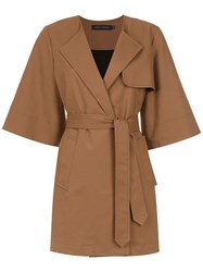 Andrea Marques 3 4 Sleeved Trench Coat Brown