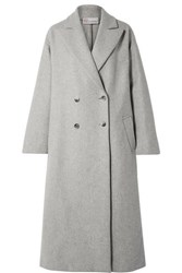 Red Valentino Redvalentino Oversized Double Breasted Wool Blend Coat Gray