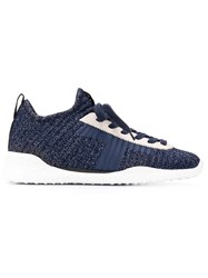 Tod's Lace Up Knit Sneakers Blue